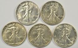 5 Better diff. mintmarked Walking Liberty Half Dollars