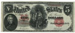 Handsome 1907 Series Large Size $5 Woodcutter note