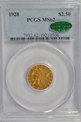 Choice BU 1928 $2.50 Indian Gold Piece. PCGS MS62 CAC