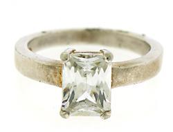 Emerald Cut CZ Solitaire Ring