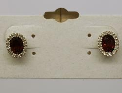 Garnet & Diamond Earrings in White Gold