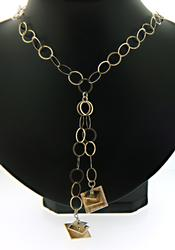 Fancy Silver Abstract Lariet Necklace