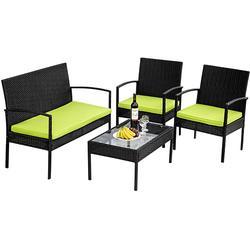 4 Pcs Rattan Patio Furniture Set Outdoor Sofa Chair