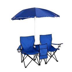 Double Portable Folding Picnic Chair W/ Umbrella Table
