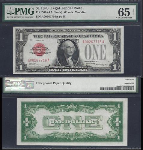 $1 1928 Legal Tender PMG 65 GEM UNC EPQ
