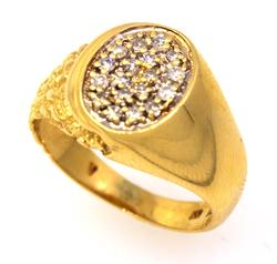 Pave Diamond Nugget Ring in Gold, Size 6.5