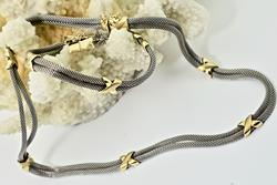 Beautiful White and Yellow 14K Mesh Necklace & Bracelet