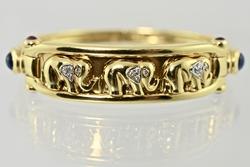 Sturdy 18K Elephant Themed Bangle