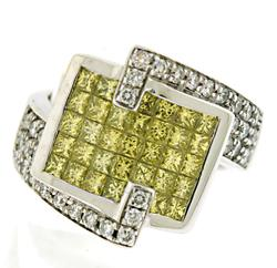 Unique Yellow & White Diamond Ring