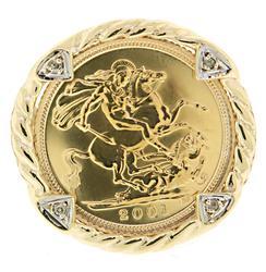 2001 Elizabeth II Coin Ring w Diamonds