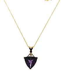 Amazing Trillion CHeckboard Cut Amethyst & Diamond Necklace