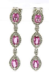 Charming Pink Sapphire and Diamond Earrings