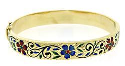 Enamel Flower Bangle Bracelet