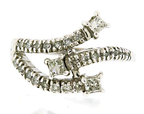 Stylish Triple Row Diamond Bypass Ring
