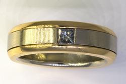 Heavy Two-Tone Gold Band with Diamond