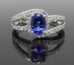 Split Shank Tanzanite & Diamond Ring