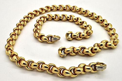 14 KT YELLOW GOLD ITALIAN ROLO NECKLACE AND BRACELET.