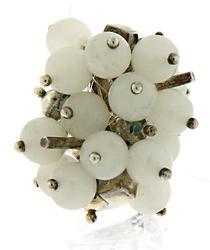 Silver and White Quartz Charm Ring