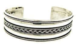 Braided Silver Cuff Bangle Bracelet