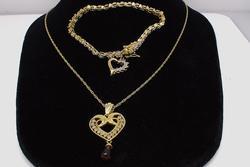 Vermeil Diamond Heart Pendant & Heart Charm Bracelet