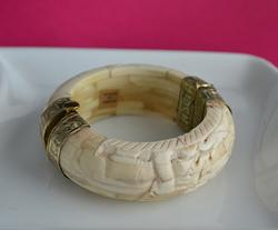 Extravagant Indian Carved Faux Ivory and Brass Bangle