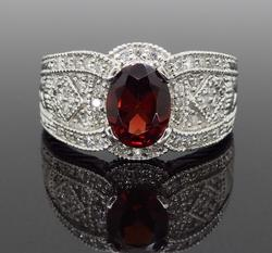 Garnet and Diamond Vintage Inspired Ring