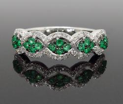 Emerald and Diamond Band Style Ring