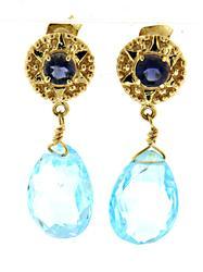Pretty Blue Topaz Dangle Earrings