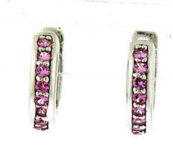 Cute Pink Sapphire Hoop Earrings