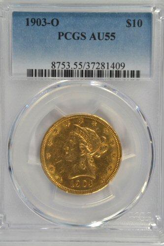 Scarce near Mint 1903-O $10 Liberty Gold. PCGS AU55