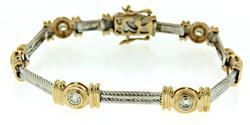 Gorgeous Two Tone Diamond Tennis Bracelet