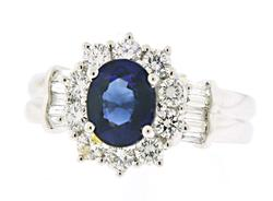Shocking Blue Sapphire and Diamond Ring