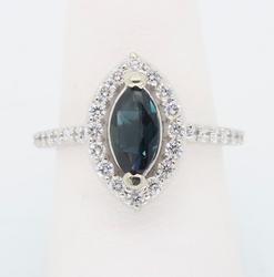 Marquise Cut Halo Gemstone and Diamond Ring