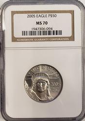2005 $50 1/2oz Platinum Eagle, MS70 NGC