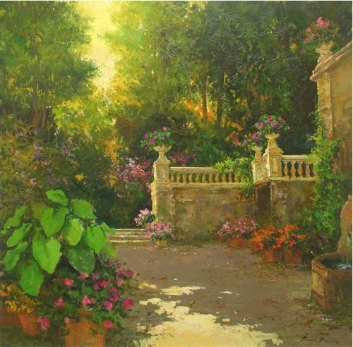 Impressionistic Garden by Renowned Painter Roman Frances