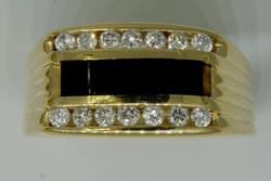 Mens Stylish Diamond & Black Onyx Ring in Gold
