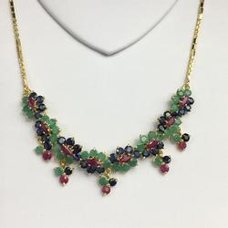 14KT SOLID GOLD MIXED NATURAL GEMSTONE NECKLACE