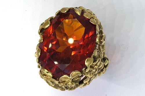 Exquisite 22CT Orange Sapphire Ring