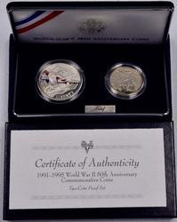 1991-1995 World War II 50th Commem Proof 2 Coin