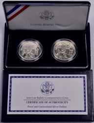 2001 American Buffalo Commem Proof and BU 2 Coin Dollars