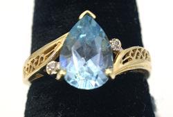Pear-Cut Blue Topaz & Diamond Accent