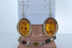 Amber Link Bracelet & Drop Earrings