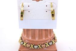 Peridot Hoop Earrings & Tri-color Heart Bracelet