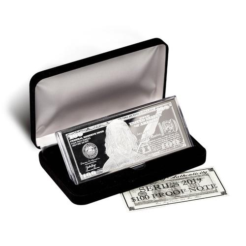 Silver 4 Ounce Bar 2019 $100 Bill .999 Fine