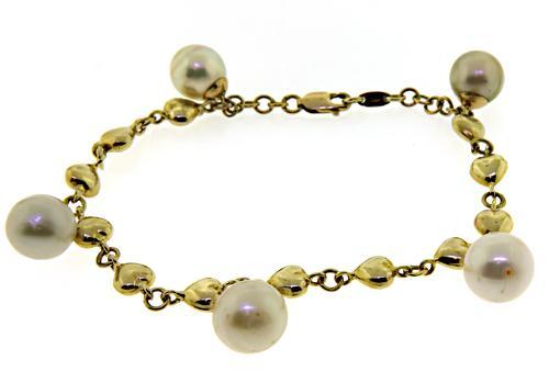Classy Puffed Heart Pearl Charm Bracelet