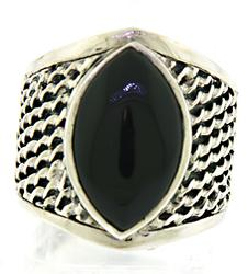 Black Onyx Woven Ring in 925