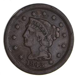 1843 Braided Hair Large Cent - Circulated