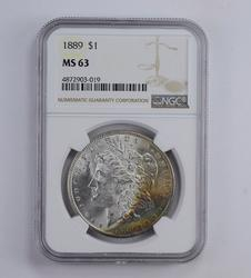 MS63 1889 Morgan Silver Dollar - Rainbow Toned - Graded NGC