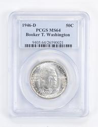 MS64 1946-D Booker T. Washington Commemerative Half Dollar Graded PCGS
