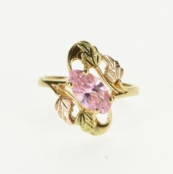 10K Yellow Gold Marquise Pink Cubic Zirconia Black Hills Leaf Ring